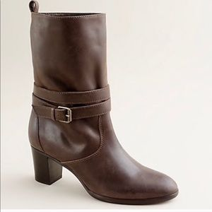 J. Crew Billie mid heel buckle boot brown leather